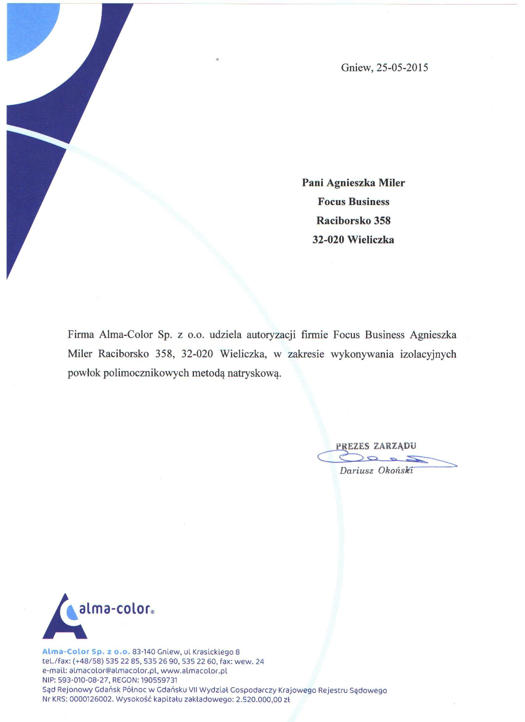 Autoryzacja w zakresie powłok polimocznikowych